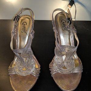 Carlos Santana Gold Strappy Heels
